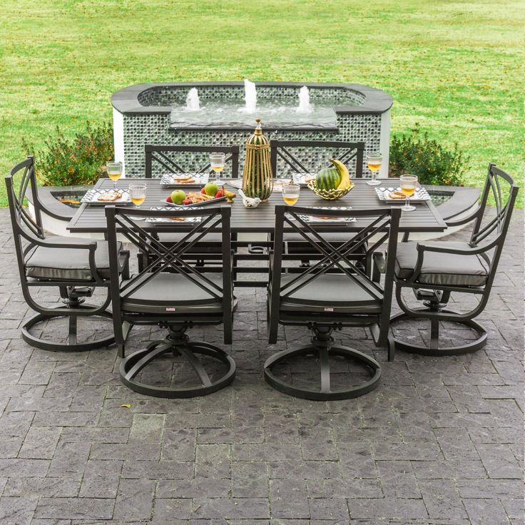 Whether you are enjoying a patio brunch or a candlelit dinner, this 7-piece dining set is perfect for the occasion.