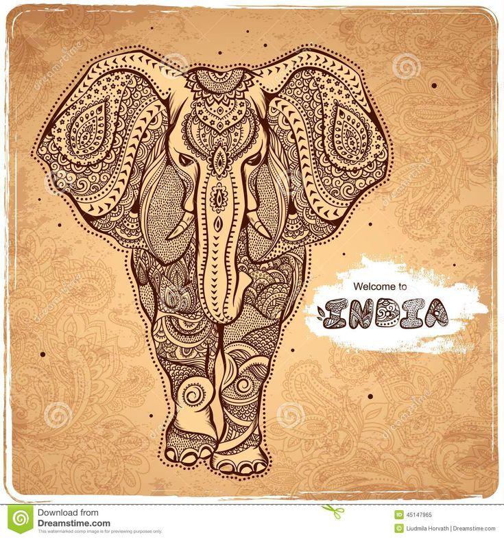 vector-vintage-indian-elephant-illustration-your-business-45147965.jpg (1300×1390)