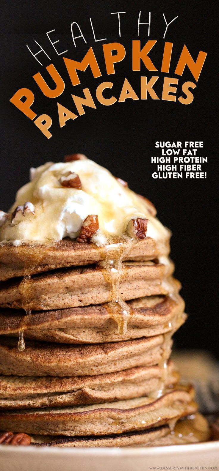 These light and fluffy Healthy Pumpkin Pancakes are secretly sugar free, low fat, high protein, high fiber, gluten free, AND dairy free! If you wake up in the morning immediately craving sweet, sweet, delicious food (welcome to the club!), then these pancakes are for YOU.