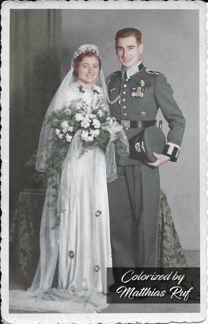 Hauptfeldwebel Rudolf Pietsch on his wedding day,