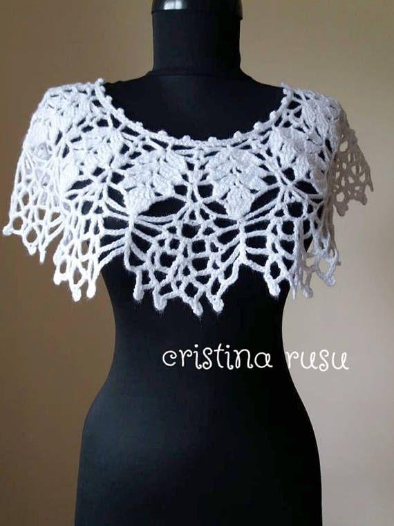 Crochet Capelet White Bridal Capelet White cowl Bridal