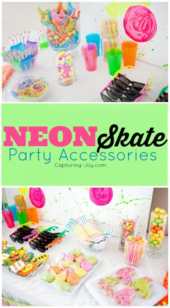 How to shop for a theme party - Neon Skate Birthday Party Ideas Kristenduke.com