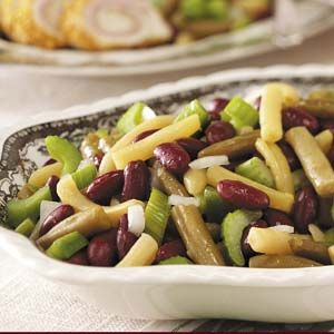 Mixed Bean Salad (I omit the celery and use thin sliced onion instead of minced) Yum