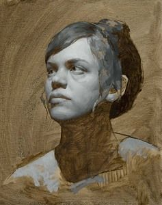 KATIE G. WHIPPLE Grisaille Portrait of Sara  Oil on Linen  10 x 8  www.StoriesOfContemporaryRealism.com