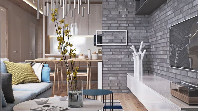 Contemporary home design exposed brick pads and muted pastel tone color bring out luxurious feel exposed brick bricks and living rooms