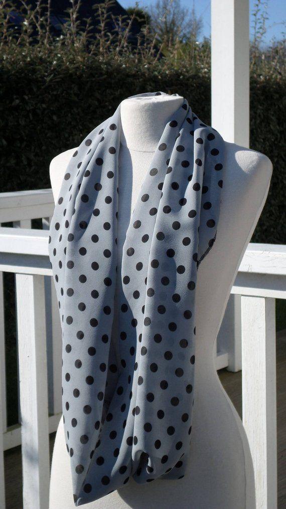 8e452c7b95ff Snood écharpe tube tour du cou foulard  femme  gris clair  pois noirs