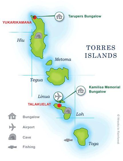 Map of the Torres Islands, Torba, Vanutau