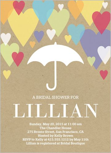 Raining Hearts Bridal Invitation By Yours Truly Celebrate The Bride To Be With This Shower Invitations Add Celebration Details And A Favorite