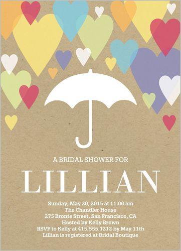 raining hearts bridal shower invitation