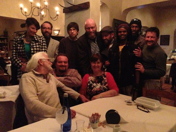 CARTOONISTS GATHER at Cafe Paradiso after the Comics Fest.