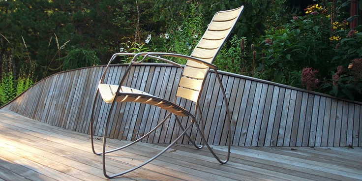 Ritter Furniture's 9_7 Lounge Chair. Not only beautiful, but so comfortable. It's meant to stay outdoors. Eric Ritter is a consummate Maine craftsman! I want this badly.