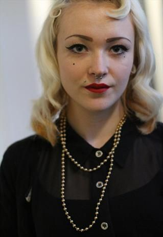 90's Vintage Punk classic Gold Beaded Necklace beads from Pretty Disturbia £1