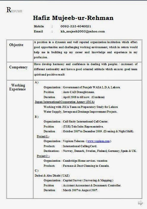 Resume Format for Job in Pakistan Free Download Sample Template - document controller