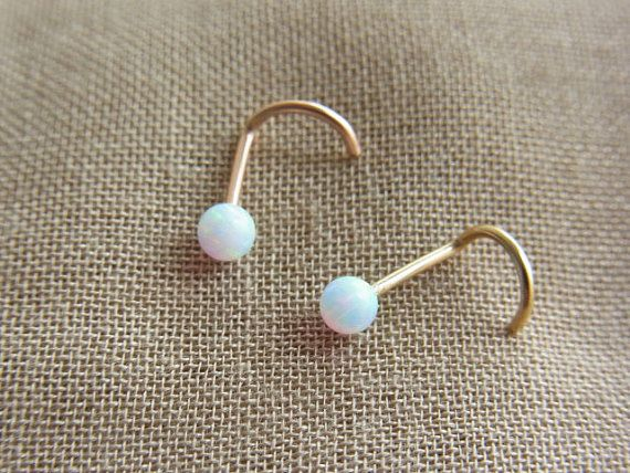 White opal gold filled nose screw by PiercingRoom on Etsy, $13.95