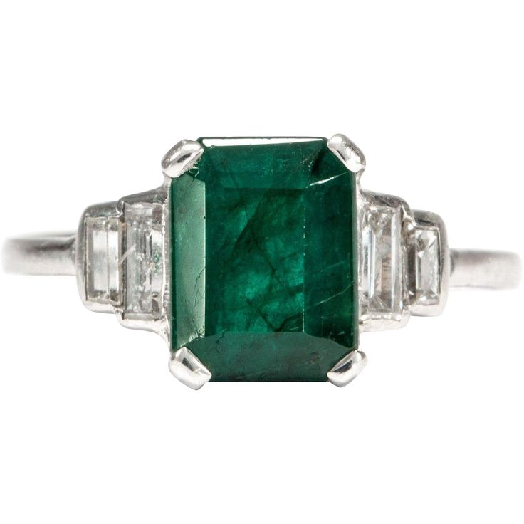 Art Deco platinum ring with emerald and diamonds Wesselton. from all-the-beauty-of-the-world on Ruby Lane