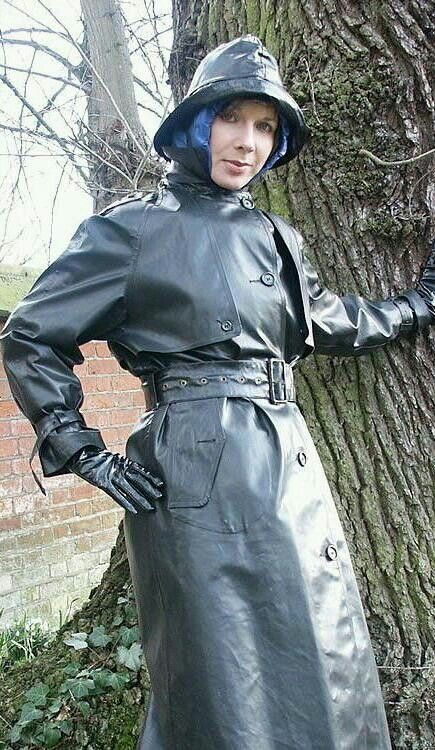 Black Rubber Raincoat & Hat