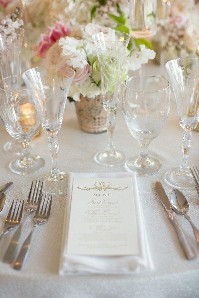 Classic Gold Menu, blush and gold wedding inspiration