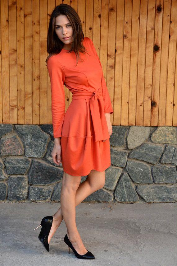 Winter Dress, Plus Size Dress, Stylish Womens Dress, Balloon Dress, Long Sleeves Dress, Orange Casual Dress, Spring Dress, Danelys D16.16.17