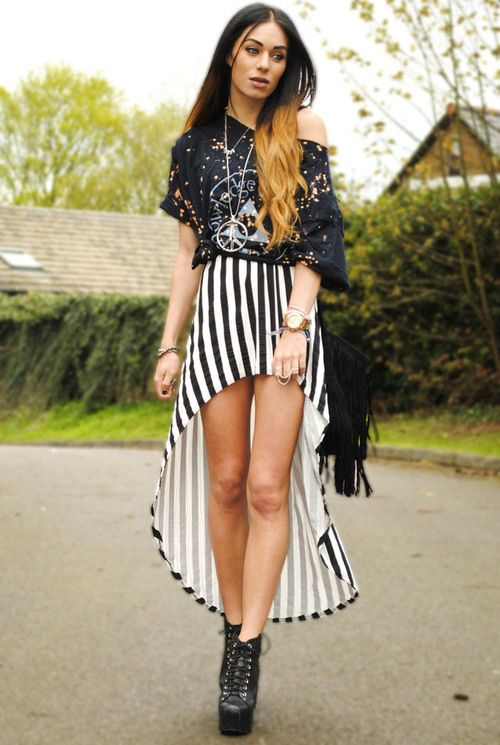 Litas, High Low Striped Skirt, Tee  Love the idea of this outfit! You probably go with a different skirt
