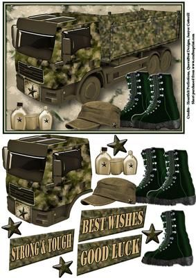 Strong Tough Big Boy s Stuff on Craftsuprint designed by Janyce Cotterill - This design started out as an idea for a truck design but finished with a bit of a army theme going on.So it could be used for any male card but would also be suitable also for anyone with military interest, transport interest even someone who likes hiking!I think it could fill the need of both young/older boys or older males. I haven't specifically made it for a birthday so have left the options open with the ...