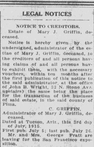 a legal notice for Mary Griffin, Tucson Citizen newspaper article 26 July 1915