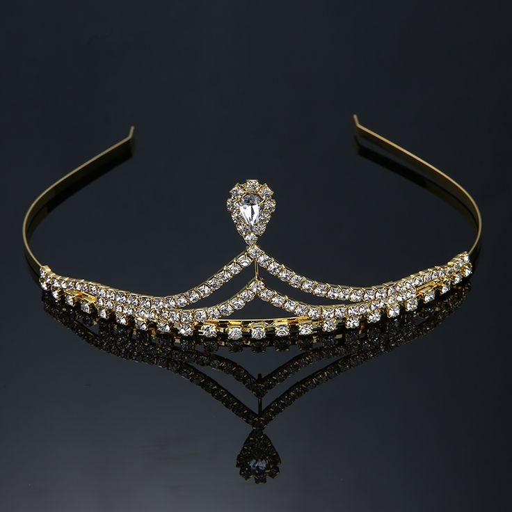 New Cute Princess Tiara and Crown Wedding Bridal Prom Pageant Crystal Rhinestone Diadem Headband Corona Hair Jewelry THSC0051-1