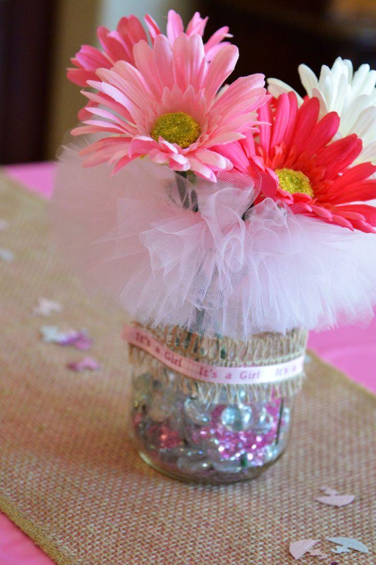 Mason jars tutu themed baby shower