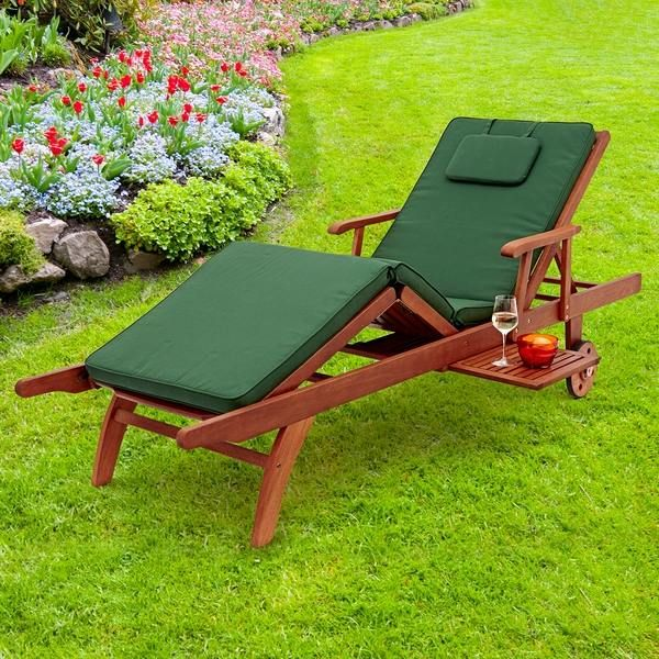 sun lounger cushions ideas green color garden sun lounger with table ideas