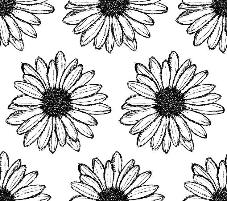 Papel mural margaritas en blanco y negro papeles murales for Papel pintado blanco y negro