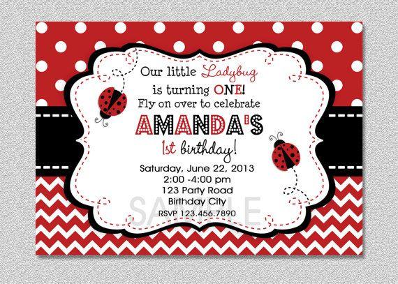 Ladybug Birthday Invitation Ladybug Birthday by TheTrendyButterfly,