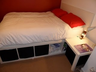 Bed made from Lack table and Expedit self -YES
