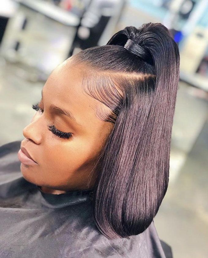 Half Up Ponytail With Bob Haircut Bob Hairstyles For Black Women For Rocking Look Curly Hair Styles Hair Styles Birthday Hairstyles