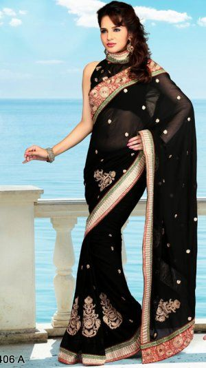 Black Color Chiffon Georgette Bollywood Saree MYSQ5406A. Sale : $115.00