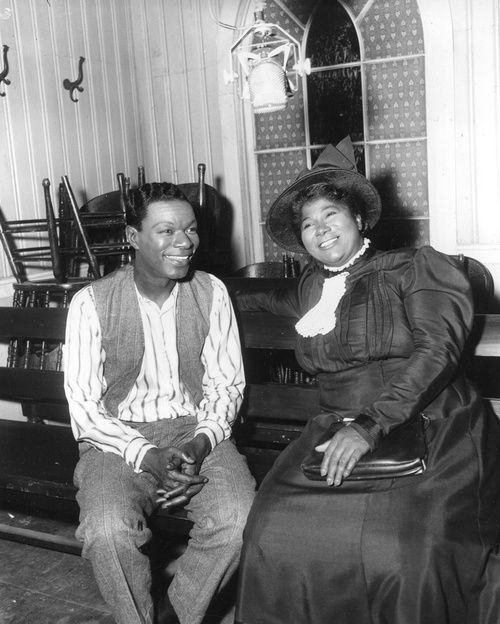 Nat King Cole and Mahalia Jackson on the set of 'St. Louis Blues', October 1957.