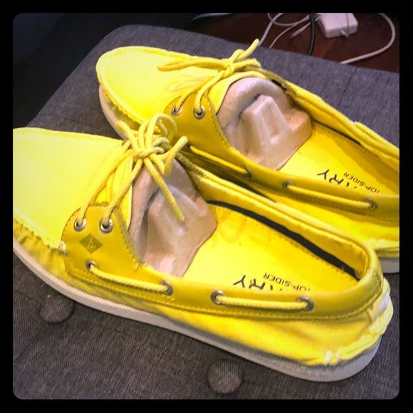 Sperry Yellow Canvas Top Siders | Boat
