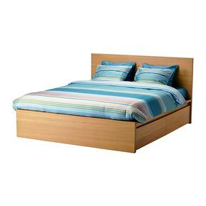 IKEA - MALM, Bed frame, high, w 4 storage boxes, Standard 4ft6 Double, Luröy, , The 4 large drawers on castors give you an extra storage space under the bed.Real wood veneer will make this bed age gracefully.Adjustable bed sides allow you to use mattresses of different thicknesses.