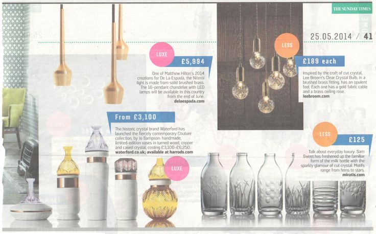 """Sam Sweet's Cut Crystal milk Bottles are featured in The Sunday Timres """"Home"""" Luxury, on 25th May 2014.  Find the bottles here:  http://www.miratis.com/glass.html?manufacturer=55"""