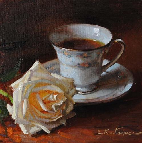 """Tea and Rose"" - Original Fine Art for Sale - © Elena Katsyura"