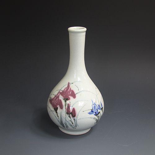 백자황금진사 계손문주병 白磁黃金辰砂 溪蓀紋壺酒甁 (white Jinsa porcelain - Iris sanguinea)