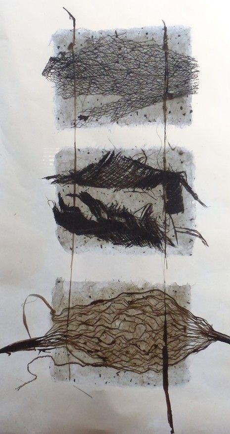 """Floating""  Handmade art paper, Mulberry bark technique - paper, palm leaf, rose gained.  By Rachel Joseph"
