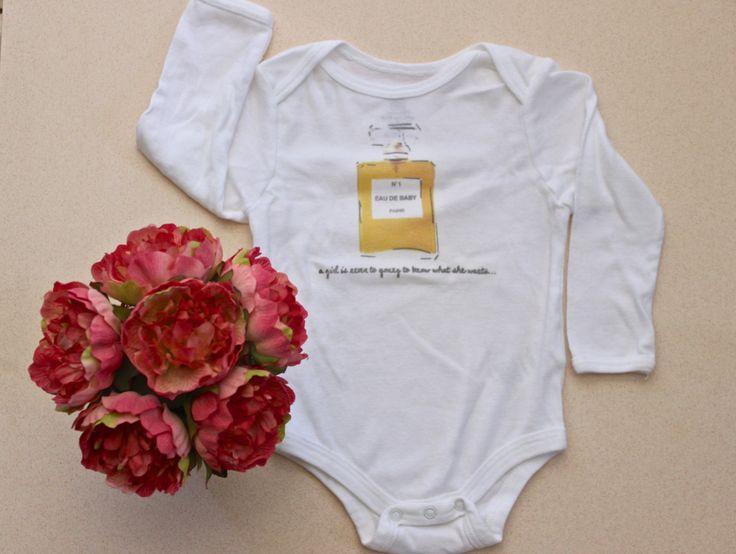 Eau De Baby 01 personalized onesie by BandCStyle on Etsy https://www.etsy.com/listing/211705362/eau-de-baby-01-personalized-onesie