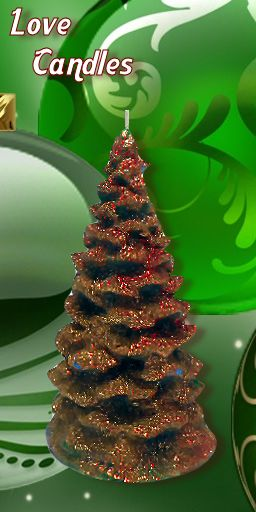 Green Tree with gold and red tinsel effect