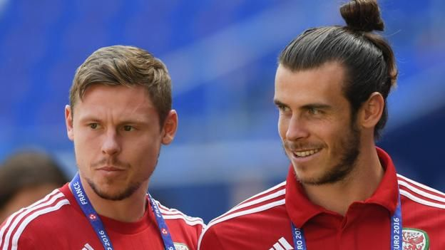 Gareth Bale (L) and Simon Church celebrate during the Euro 2016 qualifier against Bosnia and Herzegovina     2018 World Cup qualifiers: Georgia v Wales     Venue: Boris Paichadze Dinamo Arena, Tblisi Date: Friday, 6 October Kick-off: 17:00 BST   Coverage: Live commentary on BBC Radio Wales, BBC...