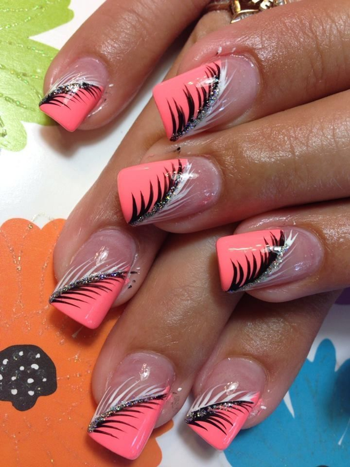 Peach & Black Nailart #amp #Nail Design #Peach #black