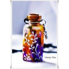 """Colier """"Sticluta magica"""" - orange & mov"""
