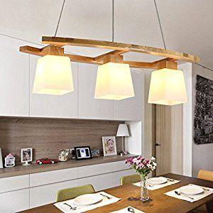 ZMH LED Pendelleuchte Esstisch Deckenleuchte Aus Holz Und Glasschirm Hngeleuchte Hhenverstellbar Pendellampe Hngelampe 3E27