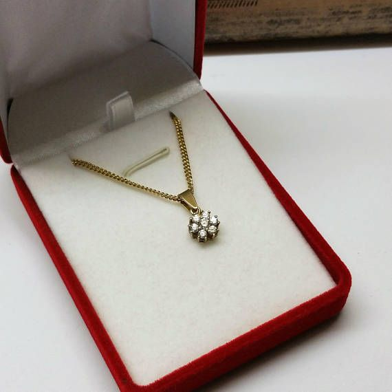 Anhänger Gold 585 Kristallsteinchen Glitzer Blüte Blume GA201