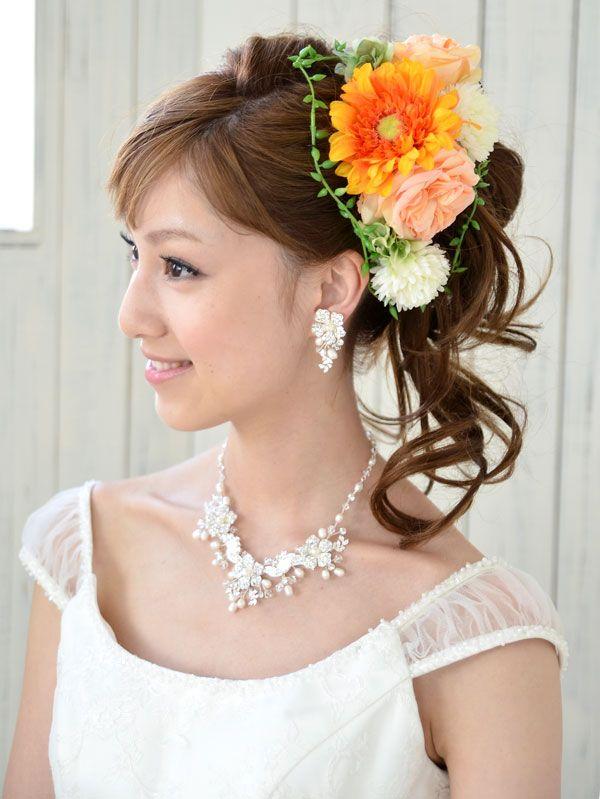 ヘッドドレス(髪飾り)【シルクフラワー】マリブ・オレンジ
