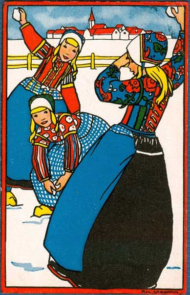 Rie Cramer illustration. Text reads : Sneeuwballenpret. Dutch girls throwing snowballs in prewar times.