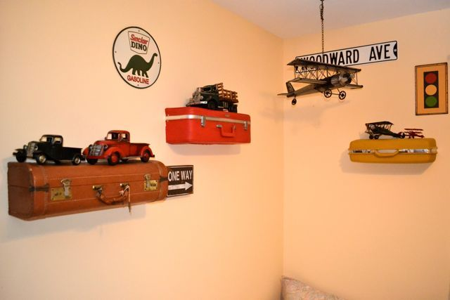 Suitcase shelves! So cute and clever!